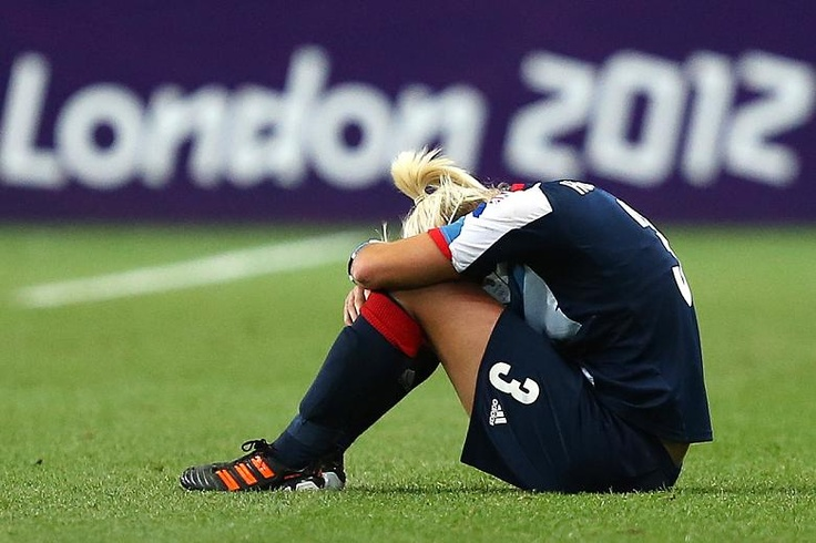 Stephanie Houghton disconsolate as the GB football team are knocked out