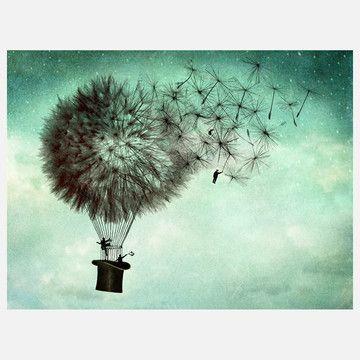 dandelion hot air balloon - dreamy