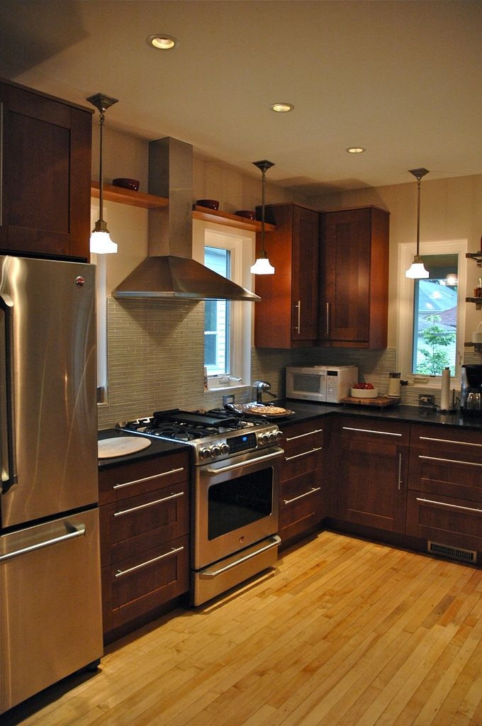 Cherry cabinets brushed nickel modern hardware love the for Brushed nickel hardware for kitchen cabinets