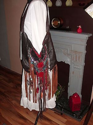 Beautiful Handmade Brown Leather Fringe Boho Hippie Gypsy Vintage Handbag Purse
