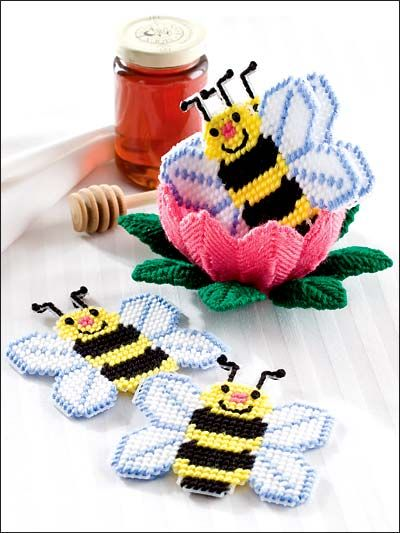 Honey Bee Coaster Set Plastic Canvas Pattern Download from e-PatternsCentral.com -- This whimsical set is sure to capture your heart!