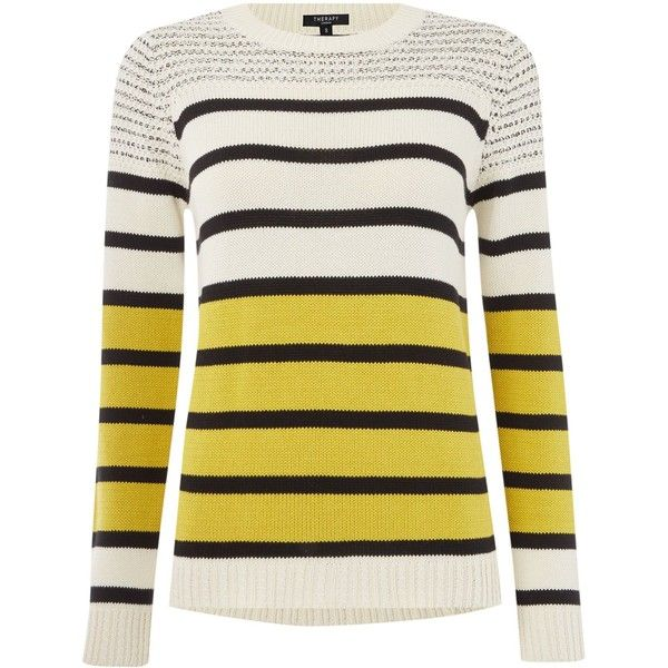 Therapy Stripe jumper found on Polyvore featuring tops, sweaters, lime, women, jumpers sweaters, striped crew neck sweater, chunky knit sweater, cotton crewneck sweater and cotton crew neck sweater