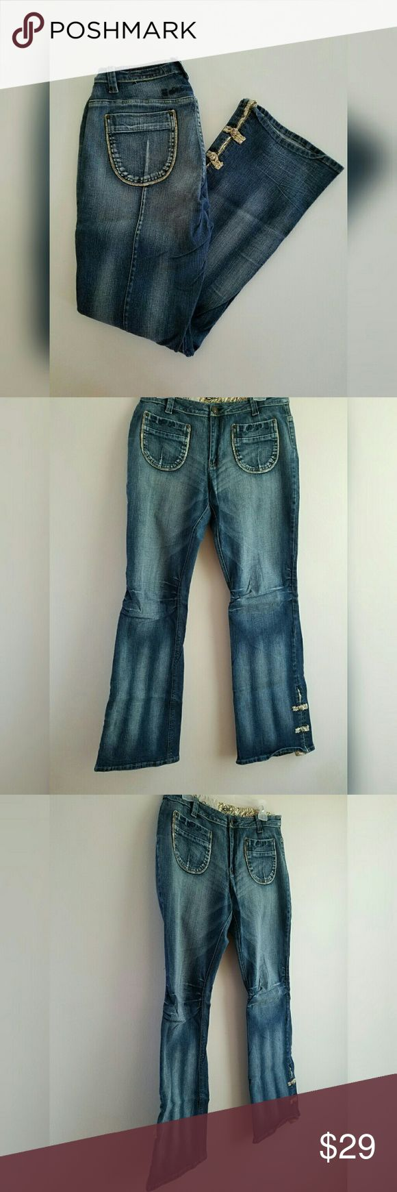 """PZI Denim Boot Cut Jeans Denim Boot Cut stretch jeans. Mid rise.  Shank button and zip closure.  Boot cut. Cotton Spandex.   Pretty fabric inlay  split leg. Style these dressy or casual. Waist 32"""". Inseam 32"""". Runs small. PZI  Jeans Jeans Boot Cut"""