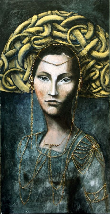 For centuries, women have been split between an inner knowing and the expectations of the patriarchal culture.  As She reveals Herself to us, more and more of us are coming to feel a deeper connection with the 'Greater Mysteries' of the feminine soul rather than with the head knowledge of waking ego consciousness.  Art by Angela Betta Casale