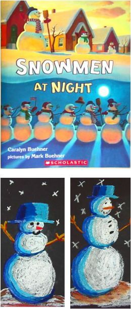 Snowmen at Night - Elementary Art Lesson for Kids - Love this lesson!
