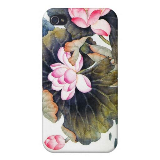 Cool oriental chinese beautiful lotus leaf butterf iPhone 4/4S cover