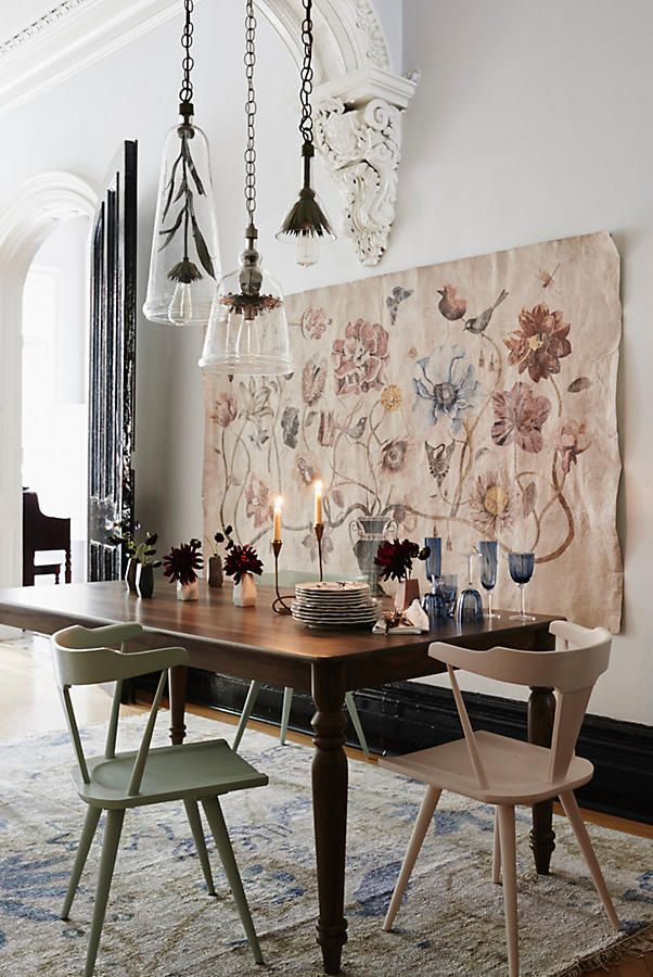 Mackinder Dining Chair love the antique floral style wall tapestry great for French rustic farmhouse style interior design