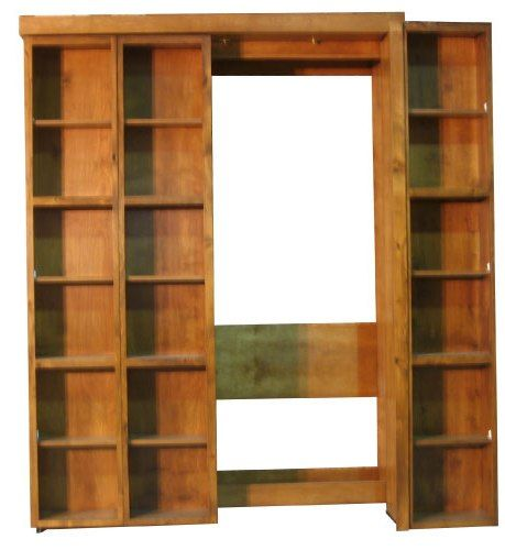The Bookcase Cabinets Pivot Out Of The Way To Allow A