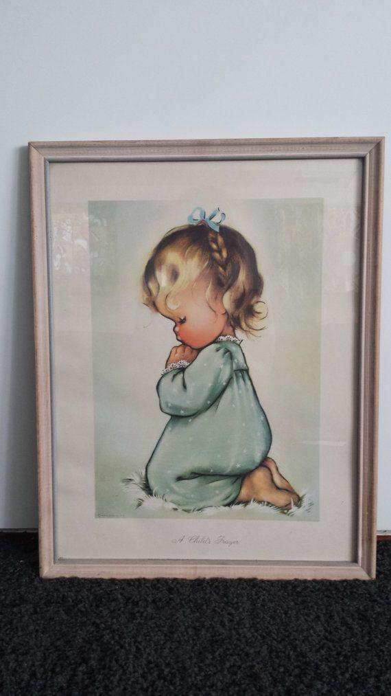 vintage 1944 print A Childs Prayer framed in glass little