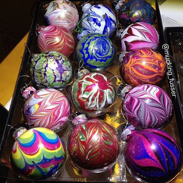nail polish water marble ornaments ~ cute idea for gifts!