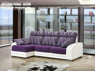 purple and white sofa furniture for living room, purple sets interior