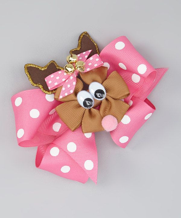 Look at this Pink Reindeer Bow Clip Set on #zulily today!