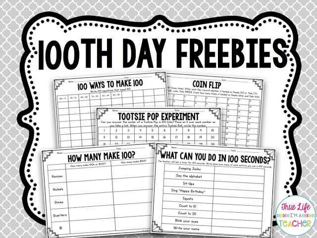 True Life I'm a Teacher: 100th Day Math {FREEBIES}