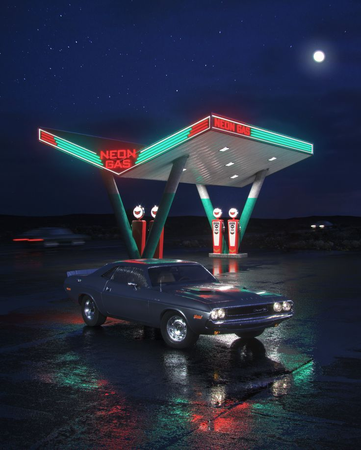 Neon Gas Station by Nikolay
