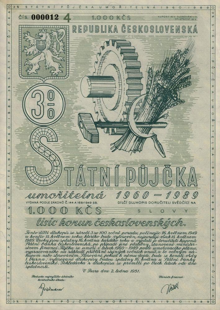 Státní půjčka umořitelná 1960 - 1989 na 1 000 Kčs. Praha, 1951.