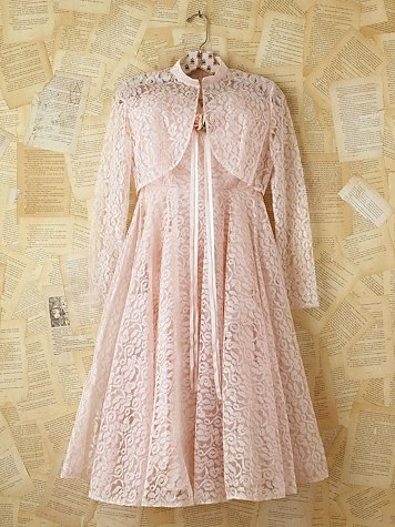 Vintage Pink Lace Dress with Matching Shrug. http://www.freepeople.com/vintage-loves-pretty-in-pink/vintage-pink-lace-dress-with-matching-shrug/