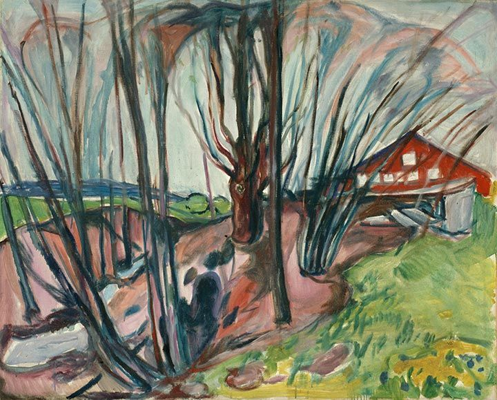 Spring Landscape with Red House 1926 / Oil on canvas / 101 x 125 cm Munch Museum