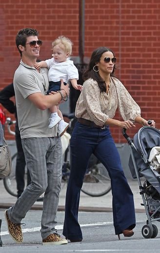 Paula Patton and her husband Robin Thicke take their baby son Alan for around the East Village, NYC