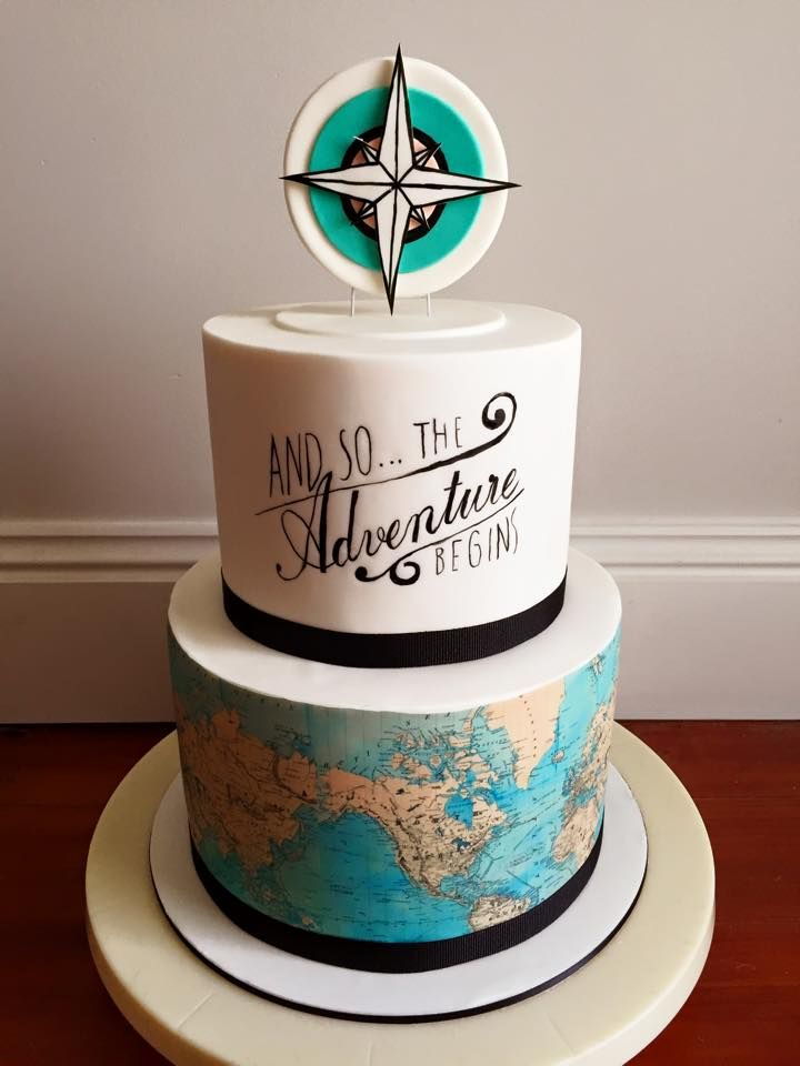 baby shower And the adventure begins cake I think I like this one the most
