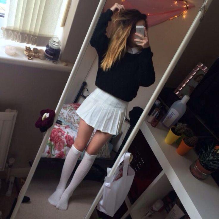 tennis skirt + over the knee socks omg