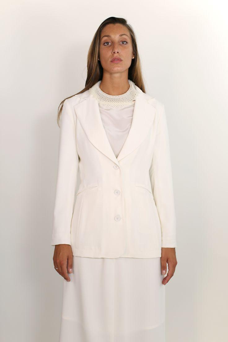 Women's Tailored wool blazer, white.  http://www.nmeno1.com/?lens_portfolio=womens-tailored-wool-blazer-white
