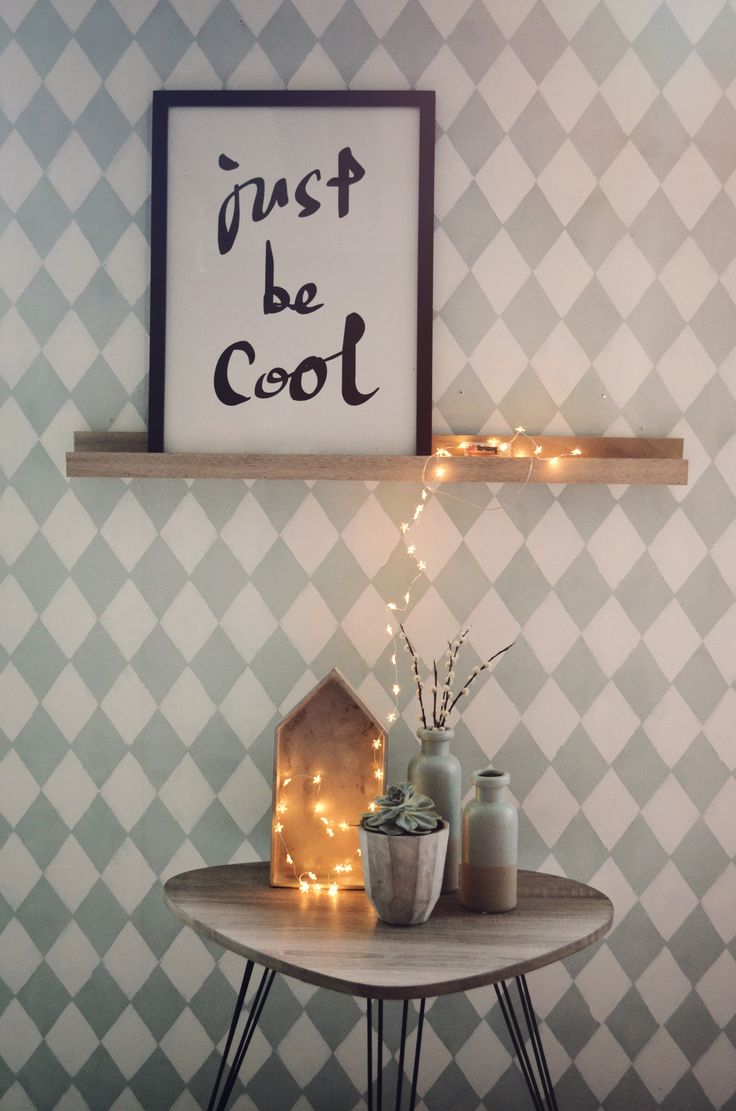 Just be cool, with harlequin wallpaper and beautiful copper string light <3
