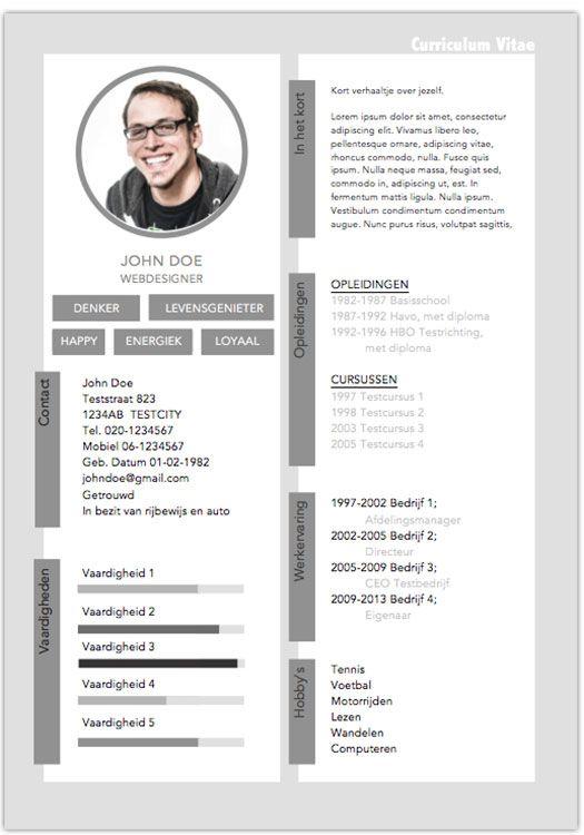 Mooi Curriculum Vitae zelf maken met een sjabloon van pimpjecvnu.nl en kom ijzersterk voor de dag. Een professioneel CV sjabloon al vanaf € 2,95