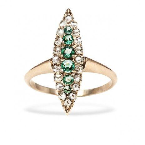 Vintage Emerald Diamond Gold Navette Engagement Ring
