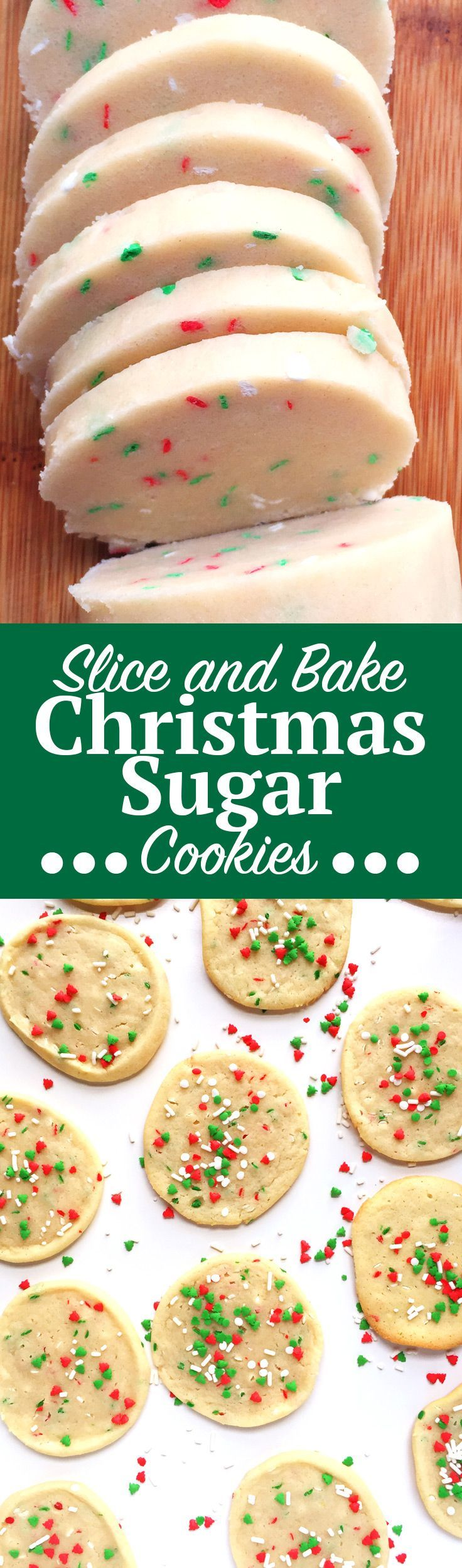 Slice and Bake Christmas Sugar Cookies. This no-roll, easy Christmas Sugar Cookie recipe is simply slice and bake, no messy flour surfaces needed! Add this to your holiday sugar cookie recipe collection ASAP and click through for the full recipe! | http://SeasonlyCreations.com | @SeasonlyBlog