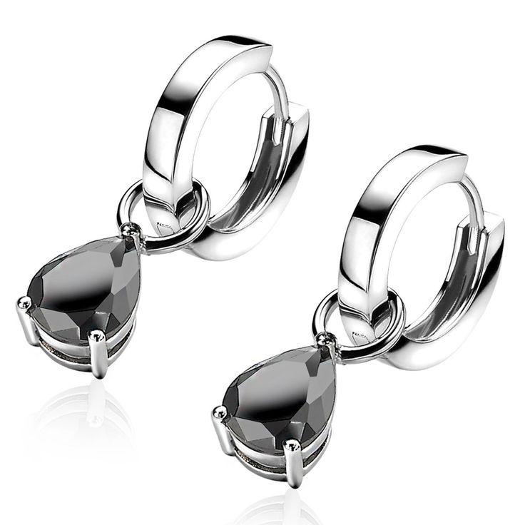 ZINZI zilveren creoolhangers peervormig zwart ZICH1302Z - Nieuw | Zinzi