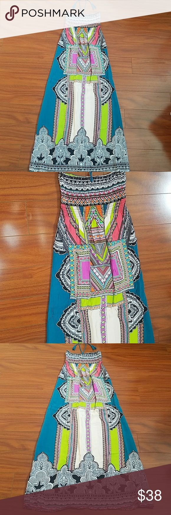 Flying Tomato boho tribal Aztec maxi New. Washed and ready to be worn. Beautiful combination of colors that are very vibrant and chic. Perfect with a black cardigan. Feel free to ask any questions prior to purchase. Flying Tomato Dresses Maxi