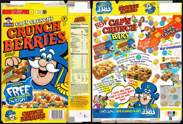 Quaker cereal boxes | ... Cap'n Crunch Bar Inside - cereal box - 1997 | Flickr - Photo Sharing