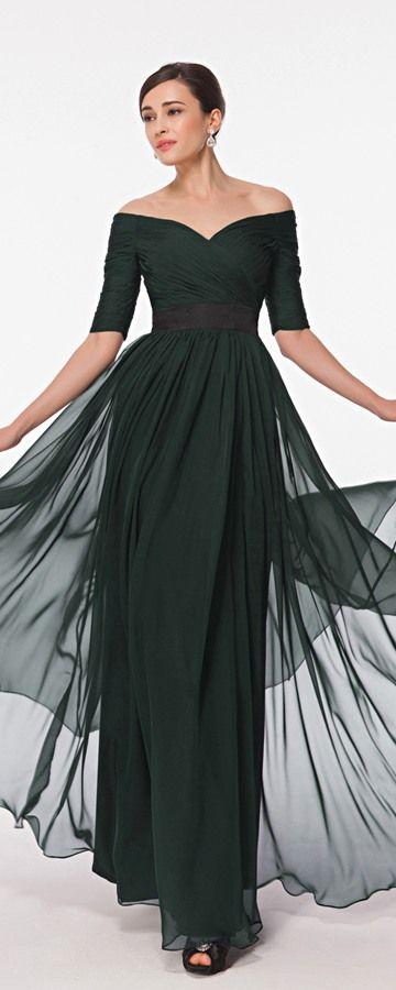 dark green evening dresses with sleeves off the shoulder formal dresses plus size Abendkleider