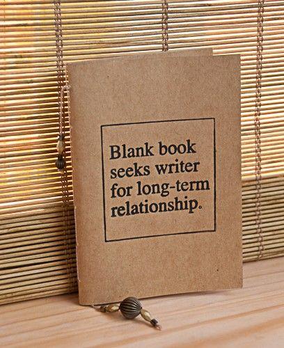 Blank book seeks writer- letterpress mini journal. [by headcasepress via Etsy.]