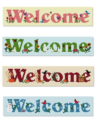 Cross Stitch: Four Seasons Welcome Signs pattern, e-Patterns Central (Craft Designs for You)
