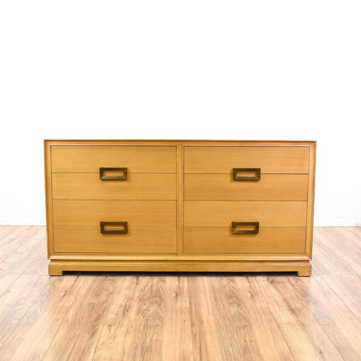"This ""Red Lion Table Co."" dresser is featured in a solid wood with a glossy maple finish. This Asian-inspired mid century modern style chest of drawers has dovetailed joinery, brass hardware, and 8 spacious drawers. Perfect for storing clothing! #midcenturymodern #dressers #shortdresser #sandiegovintage #vintagefurniture"