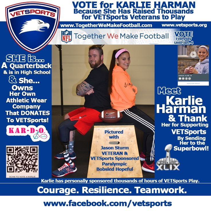 "4 DAYS LEFT 2 VOTE!  Please help Karlie Harman get to the Super Bowl.  Her story was chosen out of 10,000 submissions in the NFL, "" Together We Make Football"" Contest. Voting ends Jan. 4.  See Karlie's story and Vote at twmf.com.  Please re-pin!  Thank you!"