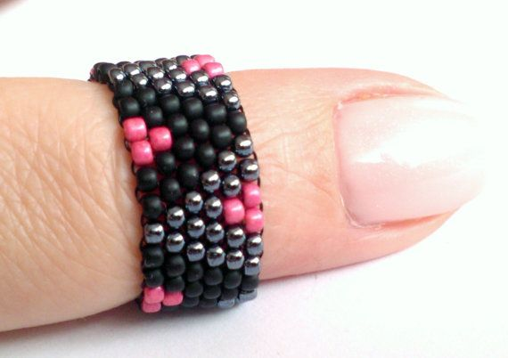 Beaded Band Ring Bead Ring Beadwoven Ring  Boho by DeerestJewelry
