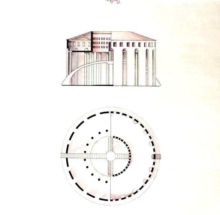 1984  PIAZZA BADOERE BIENNALE VENEZIA 4.3_carta da lucido cm. 94 x 65 by Brunetto De Batté
