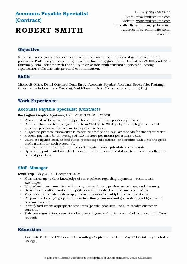 Account Payable Job Description Resume Awesome Accounts Payable Specialist Resume Samples In 2020 Manager Resume Resume Objective Job Resume Samples