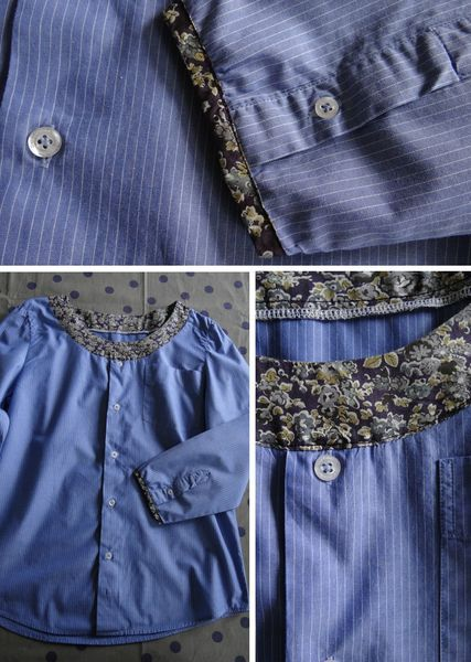 Inspo men's shirt refashion with contrast fabric added