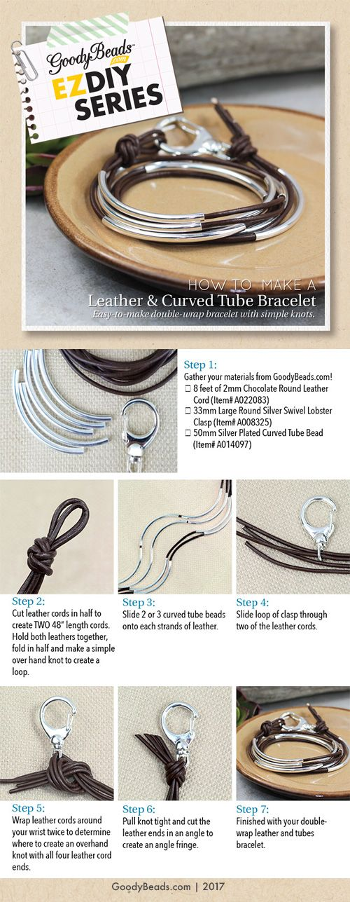 GoodyBeads | Blog: Tutorial on how to make a leather and curved tube bracelet.