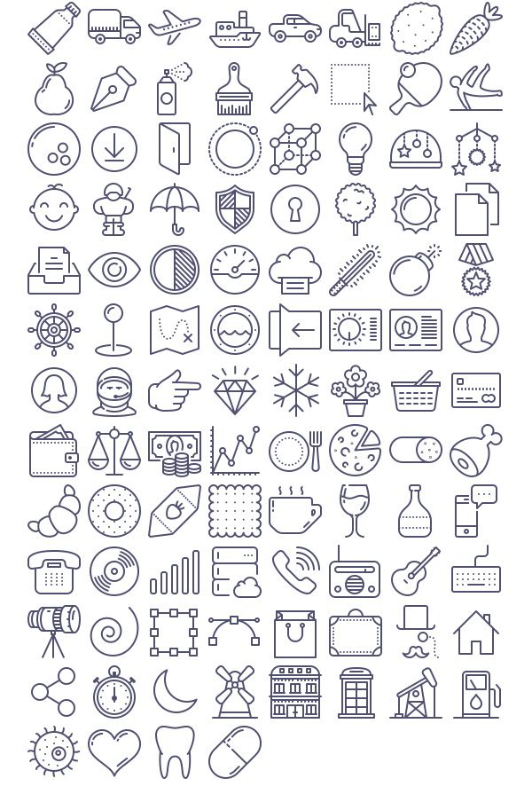 Free Download : 100 Unigrid vector icons