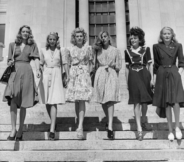 A group of six french women france 1945 40s war era for What is retro style