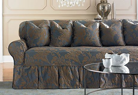 Two Toned Matelassé Damask One Piece Slipcovers, Our French-inspired, two-tone matelassé features a regal, large-scale floral motif that adds instant grandeur to a living room or dining room.