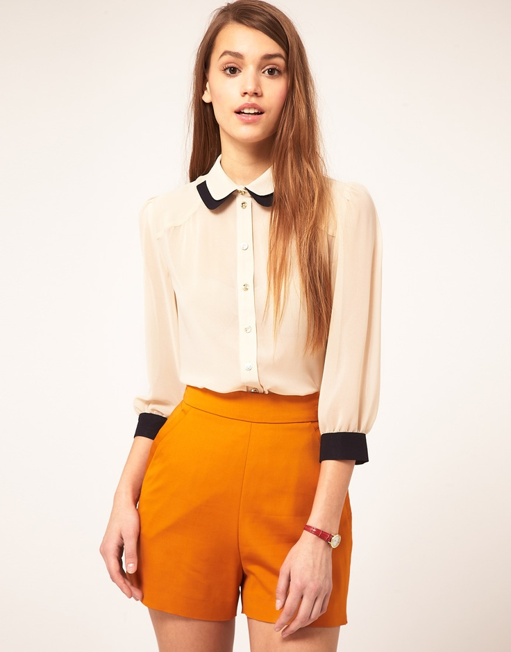 double collar blouse/mustard shorts
