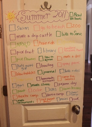 Summer fun list.  A good way to keep track of things you want to do, and also remind kids of all the fun they get to have (when they whine about chores and being bored).