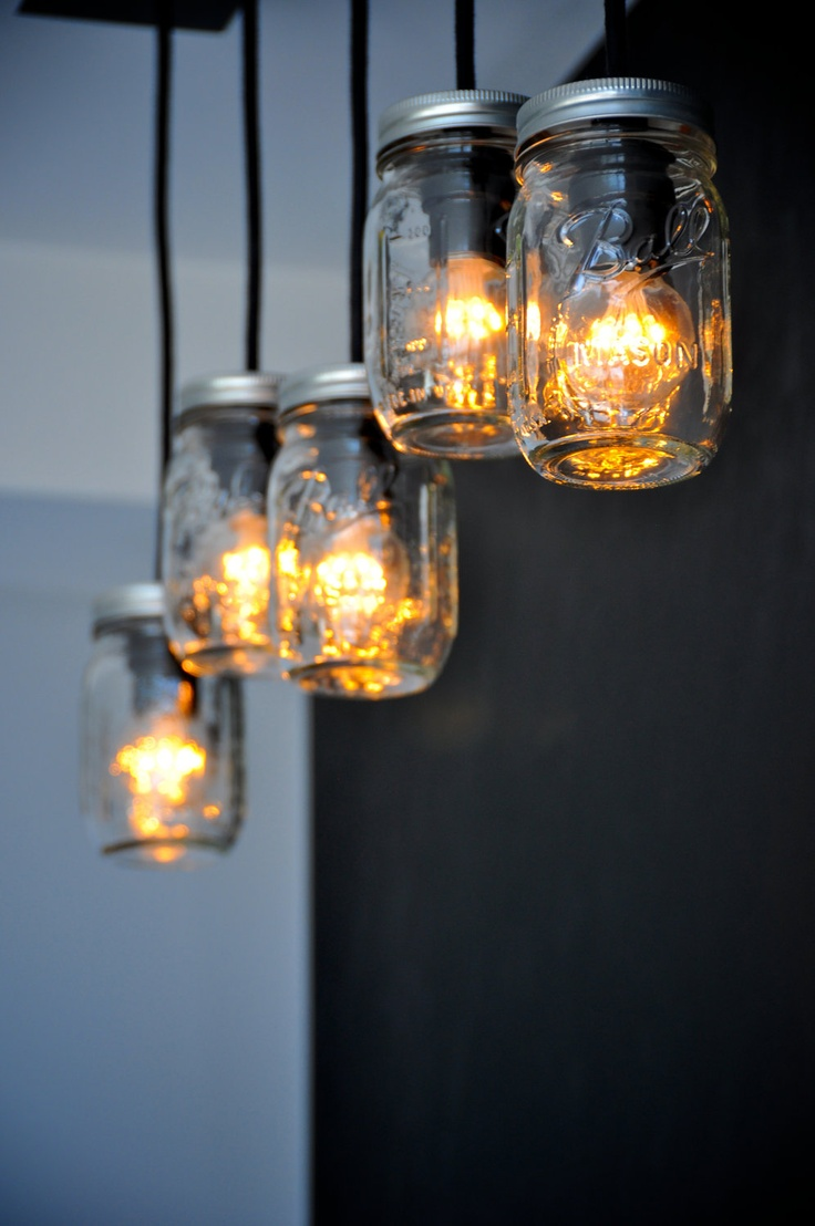 Straightwing Mason Jar Steel Canopy Light by ecostruct on Etsy