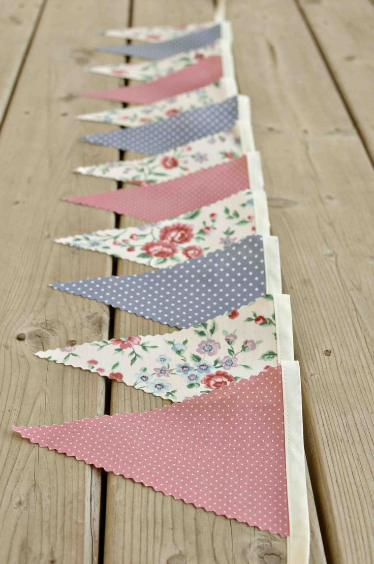 Timeless  - Vintage Bunting Banner with 12 Flags. $22.00, via Etsy. Would be easy and cheap to make by hand