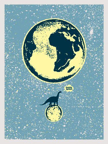 Lunasaurus 2012 print by Aesthetic Apparatus, glow in the dark - poster cabaret 18x24 $30